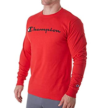 Champion Men s Classic Jersey Long Sleeve Graphic T-Shirt Sscarlet/Chest champion script Small