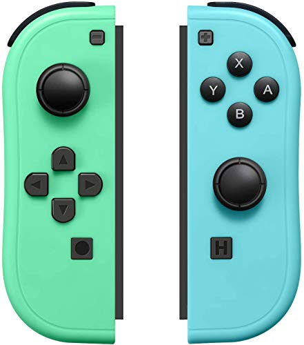 Sreega Replacement Joy-Con (L/R) for Nintendo Switch, Left and Right Controller Green & Blue (Animal Crossing) (Avocado Green/Light Blue)