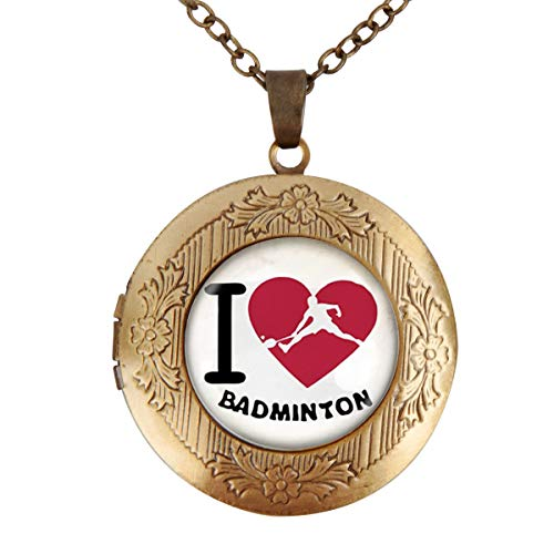 Women's Custom Locket Closure Pendant Necklace I Love Badmintons Included Free Chain, Best Gift Set