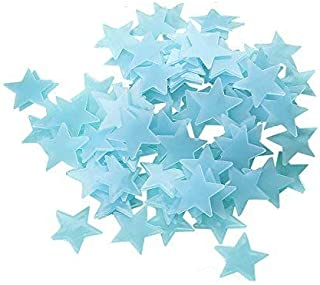 100pcs Plastic 3D Stars Glow in the Dark Stickers Night Luminous Wall Decal Sticker For Kids Bedroom Living Room Children'...