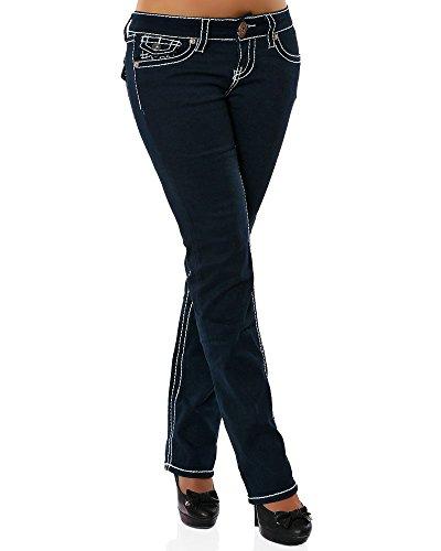 Damen Jeans Straight Leg (Gerades Bein Dicke Nähte Naht weitere Farben) No 12923 36 Navy