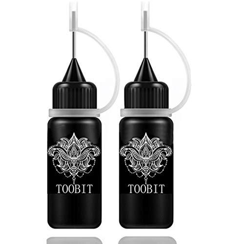 Temporary Tattoo Kit- Jagua Tattoo Gel 2 Bottles Black (1 oz)Semi Permanent Tattoo Natural and Lasting,Free 35 Tattoos Stencils 10 Cotton Swabs
