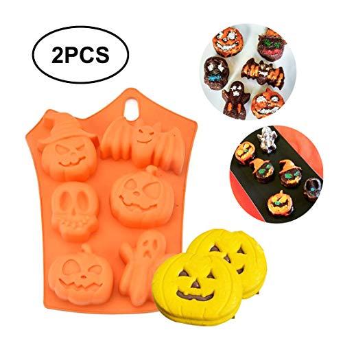 Hebudy, stampi 3D in silicone per torte, cioccolato, fondente, sapone, decorazione per torte, con zucche, teschi, fantasmi, pipistrelli, mummie, accessori per feste di Halloween, 2 pezzi
