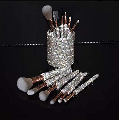 TISHAA Bling Rhinestone Professional Synthetic Makeup Brush 12 Piece with Brush Holder Organizer Pouch SET (White)