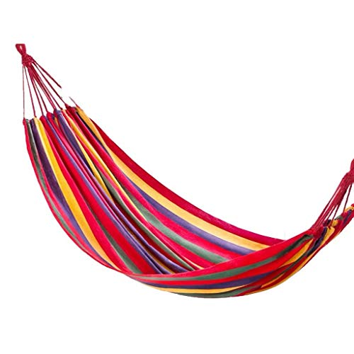 ZZL Camping Gear Hamacas de viaje tienda ligera hamaca para adultos cama columpio para jardín patio trasero portátil (color rojo)