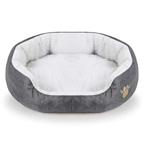 DAJIANG Cama para perro de Cachemira caliente Cama para perro casa sofá suave material nido canastas de otoño invierno cálido para gato cachorro suministros gris