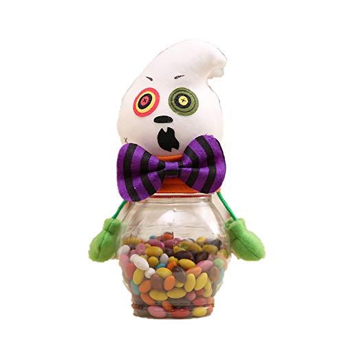 Tarro Dulces Halloween Bolsa para Niños Caja de Dulces 2 Piezas Chocolate Galleta Pequeña Goody Regalo Bolsas de Truco o Trato Suministros para Fiestas,White