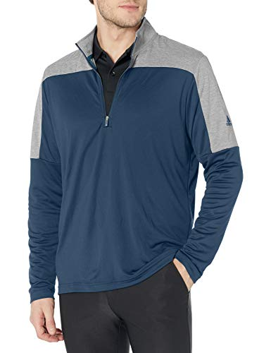 adidas Jersey ligero de poliéster reciclado con cremallera de cuarto - TM4428S21, Sudadera ligera de poliéster reciclado con cierre de cuarto., L, Azul marino/flor y brillo