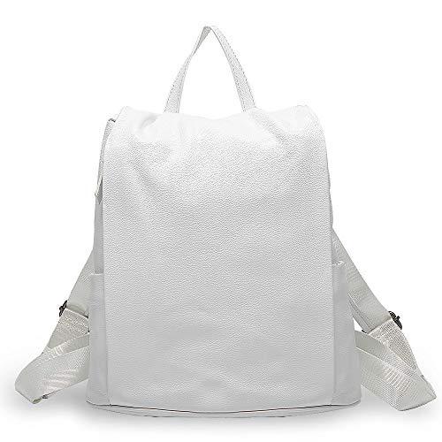 L-sister Bolso de viaje para mujer de piel, color negro, para niñas, estilo único (color: blanco, tamaño: 31 x 33 x 15,5 cm)