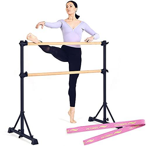 Victorem Portable Ballet Barre for Home - 4 FT. Ballet Bar for Ballet, Dancing or Stretching, Ballet Barres for Adults - Bonus Resistance Band Included