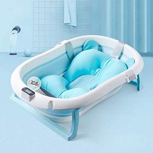 Babybadewanne mit Thermometer, Baby Neugeborene Badewanne mit Anti-Rutsch-Matte, Badewanne faltbar und verstaubar, blau und rosa-blau Badewanne + Bär Hängesystem