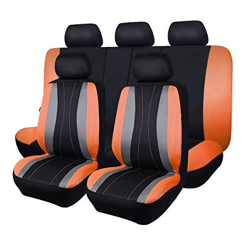 Flying Banner Fundas universales de malla transpirable para asientos de coche, compatibles con airbag (negro y naranja)
