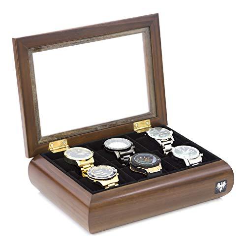 Porta-Relógios Total Luxo Madeira Maciça Oval 6 Divisórias