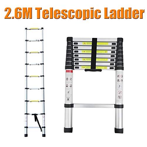 Teleskop-Leiter, robust, kompakt, Aluminium, rutschfest, 150 kg maximale Belastung für Dachboden/Kletterdach/Reparaturarbeiten