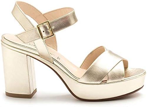 SILVIA ROSSINI - Platinum Platinum Platinum Leather Platform Sandals - 1513 5053LAM Platino  erstklassiger Service
