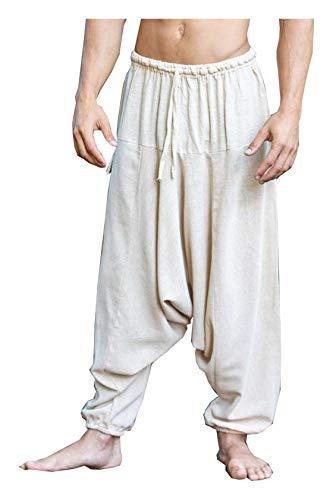 AJJAYA Aladdin Pantalones de algodón con Entrepierna caída para Hombre Beige Yogi Ashtanga Asana Harem Alibaba Yoga Pantalones de Bolsillo afganos cómodos Tai chi Gong Kung fu