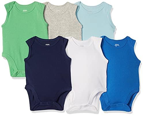 Amazon Essentials Baby Jungen-Body, ärmellos, 6 Stück, Solid Blue & Green, US NB (EU 50 cm)