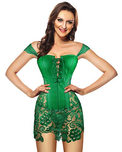Kimring Women's Steampunk Gothic Sexy Faux Leather Shoulder Strap Bustier Corset with Lace Skirt Green X-Large