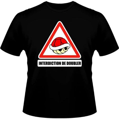 Okiwoki T-Shirt Noir Mario Kart parodique La Carapace Rouge : Interdiction de Doubler ! (Parodie Mario Kart)
