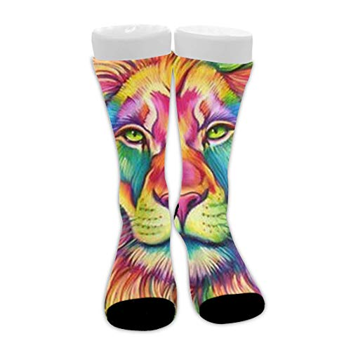 Bingyingne Acuarela Rey León Pintura Arte Unisex Novedad Calcetines de vestir de algodón Calcetines de compresión atléticos de media pantorrilla