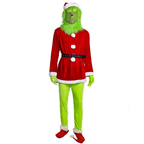 Erwachsene & Kinder Grünes Monster Kostüm mit Maske Cosplay Outfit Christmas Weihnachten Outfit Party Suit 3XL