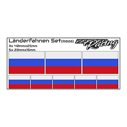 Finest Folia 8er Set Länderaufkleber Fahne Länderfahne Flagge Wetterfest RC Car Auto Motorrad Sticker Fahrrad Aufkleber Modellbau R028 (Russia)
