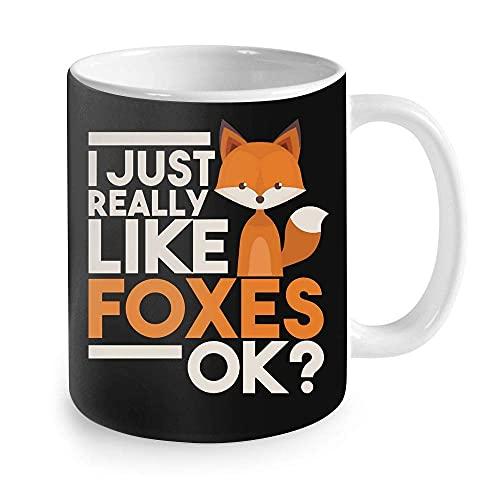 N\A Regalos para los Amantes de los Zorros: me Gustan Mucho los Zorros Ok Gifts Taza de café con Fox en él Taza 11oz