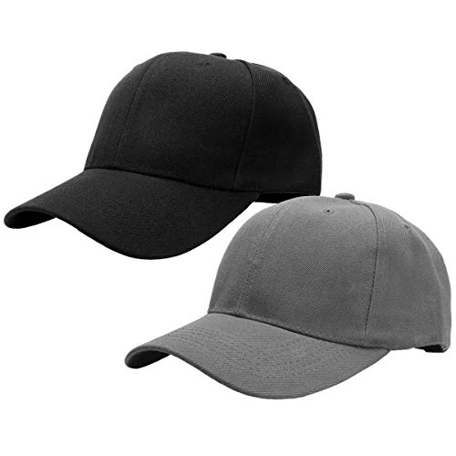 Falari Baseball Dad Cap Adjustable Size Perfect for Running Workouts and Outdoor Activities (One Size, 2pcs Black & Dark Gray)