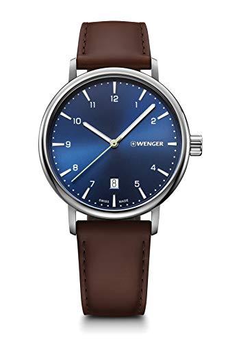 Wenger Urban Classic - 40mm, blaues Zifferblatt, Lederarmband, Uhr für Herren