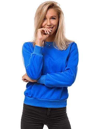 OZONEE Damen Sweatshirt Pullover Langarm Farbvarianten Langarmshirt Pulli ohne Kapuze Baumwolle Baumwollmischung Classic Basic Rundhals-Ausschnitt Sport JS/W01 BLAU S