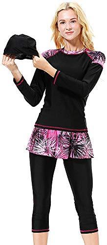 Yeesam - Bañador musulmático para mujer y niña, con cubierta completa, con musulmana y protección UV Color negro. X-Large