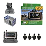 Truck System Technologies - TST 507 RV TPMS with Color Display - Tire Pressure Monitoring System for RVs, Campers & Trailers - Flow Thru Sensor Kit - Includes TST Monitor Sunshade - 4 Sensor TPMS Kit