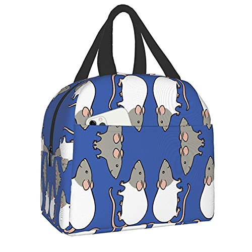 Shichangwei Cute Rats Novelty Lunch Bag Insulated Leakproof Reusable Lunch Box for Men Women, Soft Thermal Bento Cooler Bag Tote for Travel Work School Picnic Hiking Beach