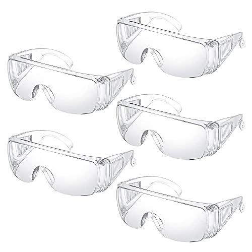 Gobesty Schutzbrille, 5 Pack Faltbare Schutzbrille für Brillenträger, Antibeschlag Schutzbrillen Arbeit, Arbeitsschutzbrille Gegen Staub Und TröpfchenIdeal, Laborbrille Augenschutz