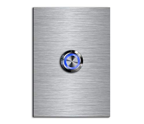 CHRISCK Design - roestvrij stalen deurbel Basic 9x12 cm rechthoekig met een bel-knop/LED-verlichting en mooie decoratieplaten van acrylglas naamplaat/belplaat