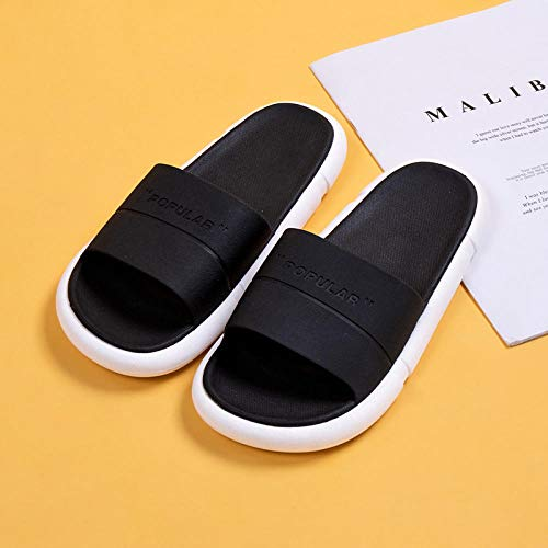 XZDNYDHGX Hombres Zapatilla De BañO Antideslizante,Inicio Zapatillas de Interior para Hombre Verano, hogar Pareja Interior Baño Zapatos de Soporte Antideslizantes Negro EU 39-40