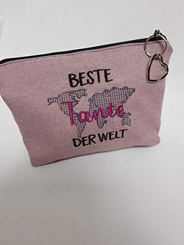 Kosmetiktasche Beste Tante der Welt Schminktasche Utensilientasche Kleinigkeiten Tasche mit Anhänger Muttertag