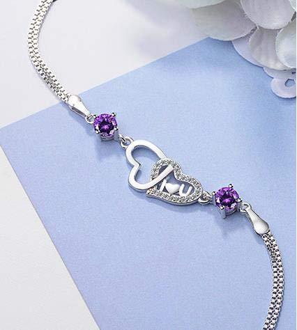 NDASNDIASND Charm Lady 925 Silver Bracelet Jewelry Crystal Purple Female Anklet Bracelet Accessories Girl Lady Jewelry