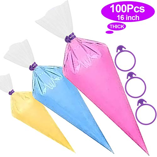 100Pcs Thick Icing Piping Decorating Bags With 5 Bag Ties, Plastic Disposable Icing Pastry Bags for Cream Cake Icing Sugar craft Cupcake Baking, DIY Cake Decorating Supplies