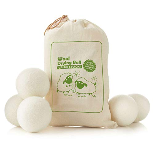Set di 6 Pezzi Palline di Lana per Asciugatrice, Pallina di Lana con Funziona Ammorbidente per Asciugatrice,Antistatici,Naturale, Anallergici & Riutilizzabili