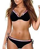 CMTOP Trajes de Baño Mujer Push-up 2021 Bikini Sets Talla Grande Ropa de Baño de Dos Piezas Estampado Floral Cuello en V Bañador Ropa de Playa con Anudado Tanga Braga