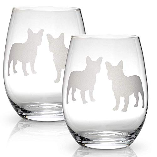 Boston Terrier Stemless Wine Glasses (Set of 2) | Unique Gift for Dog Lovers | Hand Etched with Breed Name on Bottom