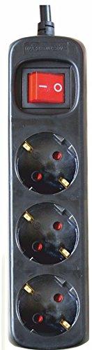 Silver Electronics 9643 Regleta Tomas con Interruptor, Negro, 3 Enchufes / 1,5 metros