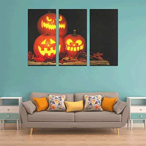 WYYWCY 3 Panel Wandkunst abstrakte Malerei Halloween Kürbis mit brennenden Kerzen Farben für Wände Wandkunst Dekor Fotodruck Leinwand für zu Hause Wohnzimmer Schlafzimmer Badezimmer Wanddekor Poster