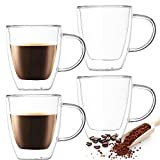 Farielyn-X 4 Pack Insulated Coffee Mugs, Glass Tea Mugs (12 oz, 350 ml), Double Wall Glass Coffee Cups, Latte Cups, Beer Cups, Glass Coffee Mug, Tea Glasses, Latte Mug, Clear Mugs, Glass Cappuccino Cu