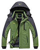 Wantdo Anorak da Sci Impermeabile Antivento Cappotto Invernale da Neve Caldo Uomo Grigio e Verde Medium