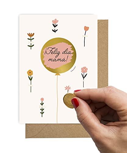 Tarjeta Dia de la Madre Rasca⎪Tarjeta Felicitación Día Madre Personalizable Mamá Felicidades Regalo