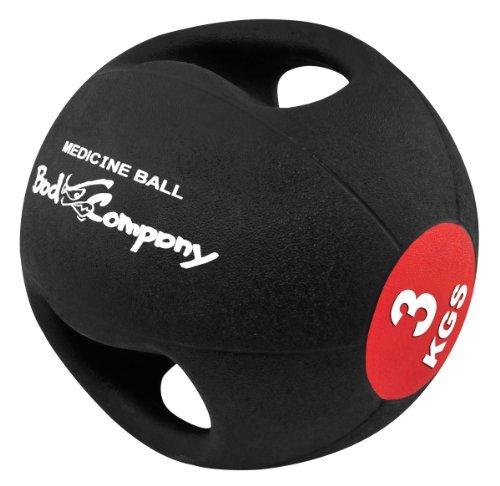 Bad Company I Pro-Grip Medizinball I Fitnessball mit Doppelgriff I Einzeln oder im Set 3 Kg