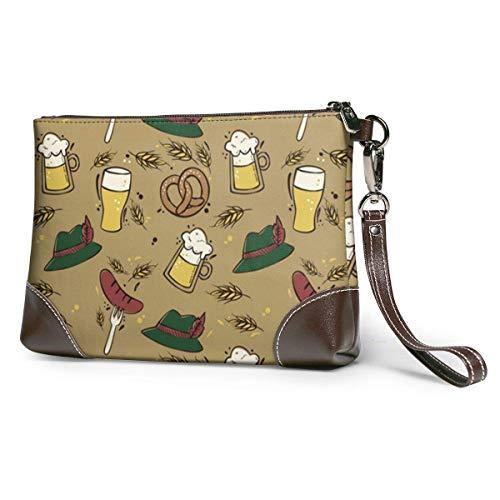 EDFG Oktoberfest Traditionelle Elemente Muster Frauen Leder Geldbörsen Kupplung Telefonkarten Handtaschen