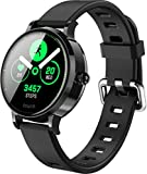 Large Round Color Screen smartwatches New Version Women Bluetooth Metal dial smartwatch Waterproof Bluetooth Man Smart Watch Heart Rate Blood Pressure Monitor smartwatch for Android Phones (Black)